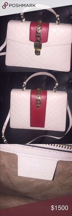 7921c4597ae8 White Gucci Sylvie Leather Bag Purse