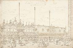 Bernardo Bellotto Venedig, Piazza San Marco mit Basilika und Palazzo Ducale 1739 Feder in Braun 26 x 38,8 cm © Collection Rijksmuseum, Amsterdam