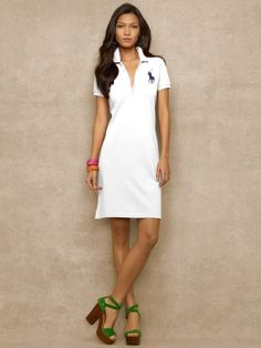 Big Pony Stretch Polo Dress - Blue Label Short Dresses - RalphLauren.com