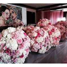 Floral sphere creation and a little artwork for kicks #colincowie #orchid #hydrangea #rose #pinkandwhite