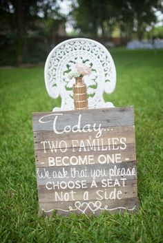 Kaitlin Leigh diy sign diy wedding family sign diy family wedding sign choose a seat not a side
