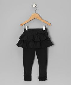 Take a look at this Black Ruched Skirted Leggings - Infant by Watch Me Grow on #zulily today!