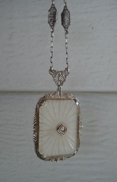 Vintage Antique Artist Signed Victorian Sterling Silver Camphor Glass Filigree Necklace Diamond Art Deco