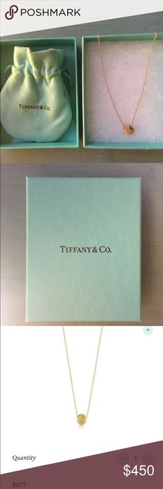 "Tiffany & Co Twist Knot Pendant Like brand new. 18k gold pendant on 16"" chain. Original box and bag included. Retails for $675. Tiffany & Co. Jewelry Necklaces"
