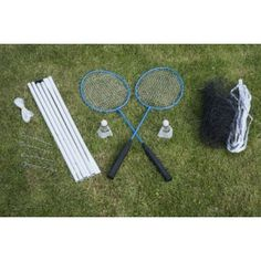 Set up badminton in your own garden. This set includes 2 metal rackets, 2 shuttlecocks & a net with 4 pegs & steel poles. Garden Games, Rackets, Sports Equipment, Tennis Racket, Steel, Fitness, Garden Party Games