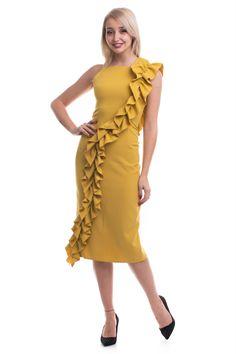 Rochie de ocazie Tinka midi, cambrată, în bretele, volan pe un umăr și până în partea de jos, fantă la spate, închidere în fermoar la spate One Shoulder, Shoulder Dress, Formal Dresses, Fashion, Dresses For Formal, Moda, Formal Gowns, Fashion Styles, Formal Dress