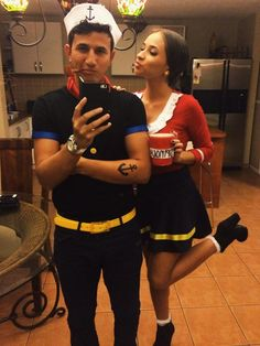 Popeye and Olive Oyl for Halloween #halloween #couple #costume