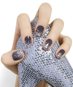 crystal chic by essie - super-chic dreams do come true. mirror ball chaos over stone-cold fox gray create an icy hot look perfect for a night to remember. Essie colors used: Smokin' Hot and Set in Stones. Xmas Nails, New Year's Nails, Holiday Nails, Pink Nails, Grey Christmas Nails, Christmas Fun, Maroon Nails, Nails 2016, Chic Nails