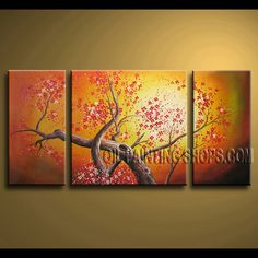 Beautiful Contemporary Wall Art Hand-Painted Art Paintings For Living Room cherry blossom. This 3 panels canvas wall art is hand painted by Bo Yi Art Studio, instock - $135. To see more, visit OilPaintingShops.com