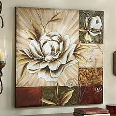 Hand-Painted Magnolia Canvas from Through the Country Door® Acrylic Painting Canvas, Canvas Art, Art Decor, Decoration, Lighted Canvas, Abstract Flowers, Texture Painting, Creative Art, Modern Art