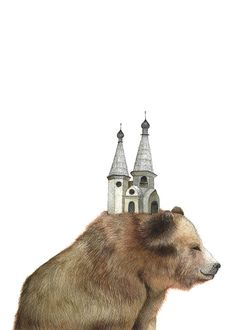 The Bear and the Tower // 5x7 Art Print // Forest Illustration by Polanshek of the Hills