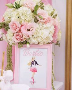 Kara's Party Ideas presents a perfectly Pink Glam Barbie Birthday Party with tons of adorable pics and ideas! Barbie Centerpieces, Barbie Party Decorations, Barbie Theme Party, Barbie Birthday Party, Birthday Centerpieces, 6th Birthday Parties, Girl Birthday, Party Themes, Party Ideas