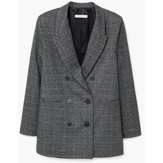 MANGO Check Structured blazer (4.560 RUB) ❤ liked on Polyvore featuring outerwear, jackets, blazers, blazer, checked jacket, checked blazer, mango jackets, mango blazer and blazer jacket