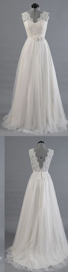 wedding dresses,white a-line v neck chiffon lace long prom dress, bridesmaid dress
