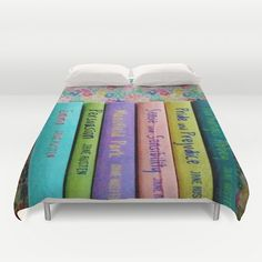 Jane Austen Library Duvet Cover: home decor, bedding, book, books, library, librarian, pastel, pink, purple, yellow, blue