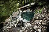 Sykes hot spring pool next to the Big Sur River just up from Sykes Hot Springs Campground in the Ventana Wilderness backcountry: Big Sur wil...