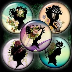 Vintage Silhouettes  15 inch or smaller Circles by CobraGraphics, $3.90