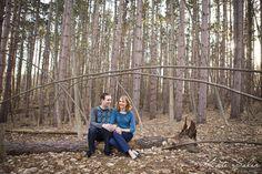 Super sweet woodsy engagement session -  Michigan wedding photographer Kate Saler Photography www.katesalerphotography.com