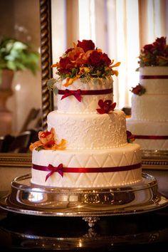 Fall theme wedding cake