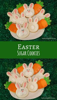 Pre-Order Easter Sugar Cookies - Bunny Face - Bunny Tail - Carrot Decorated Sugar Cookie - One Dozen - 12 Rolled Sugar Cookies #affiliate