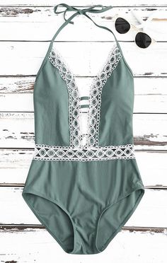 3922858713a7f Crochet Panel Halter Backless One Piece Swimsuit One Piece Swimsuits