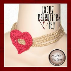 Jaybird Designs: February Free Crochet Pattern ~ Heart Slider Choker