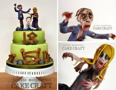 Some of the coolest zombie cakes and confections you've ever seen! Artisan Cake Company, Zombie Food, Cake Craft, Themed Cakes, Halloween Themes, Birthday Cake, Zombie Cakes, Amazing, Desserts