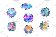 Chakras Part 2. Watercolor textures by Marina Demidova on @creativemarket