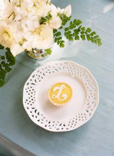 Tiny monogrammed lemon tart.