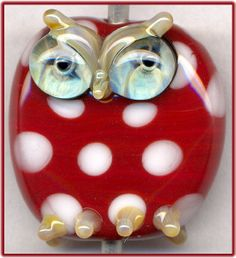 Dark Red Dotted Owl ~Dottie~ Focal Lampwork Handmade Glass Bead Pendant SRA W79 :) ♥♥♥