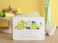 An adorable new wildlife baby shower invitation from Tiny Prints!