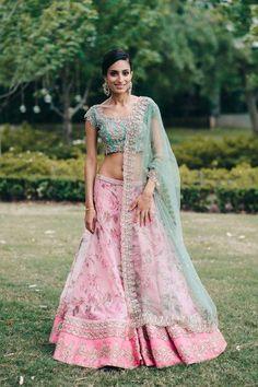 Beautiful anushree reddy lehenga for engagement. Featured on Wedmegood.com