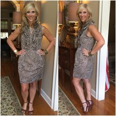 Leopard print dress @andrew_marc @neimanmarcus #andrewmarc #neimanmarcus. Shoes with a fun fringe tassel @whbm #whbm  Necklace and Bracelet @jcrew #jcrew @redbookmag #redbookmag @instylemagazine #instylemagazine @betterhomesandgardens #betterhomesandgardensmagazine