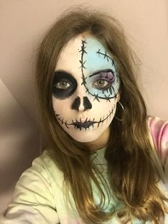 Simple jack and Sally face paint for Halloween