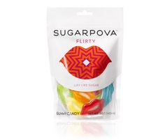 Sugarpova. Maria Sharapova's premium gummy. FLIRTY, LIPS LIKE SUGAR,  Smile! What could be sweeter than a fruit-flavored candy kiss from our lips to yours?