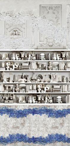 wall & deco wallpaper // facades and bookshelves