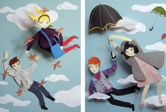 Carried by Birds, Flying Umbrellas, Paper Illustrations