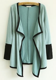 Love...Love...Love this Green Patchwork V-neck Long Sleeve Cotton Blend Cardigan! Perfect with black leggings!
