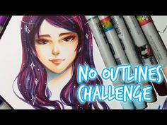 CHALLENGE ★ No Outlines Challenge ★ With COPIC - YouTube