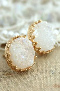 Crown Jewel Druzy Stone Earrings - White