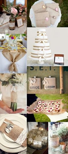 A Burlap Wedding; love the burlap table runner, that could really work for our head table! I want a burlap wedding -z :)