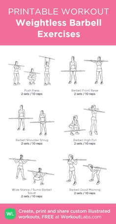 Weightless Barbell Exercises:Printable #customworkout