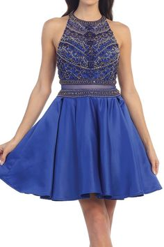 ILLUSION 2 PIECE SHORT FLOWING HOMECOMING GRADUATION PARTY DRESS