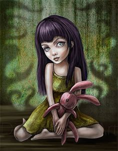 Goth Girl Art Print  Amily Creepy Pink Bunny  by DianaLevinArt, $15.00