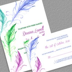 Free PDF Bright Feathers Wedding Invitation and RSVP - free to download and…