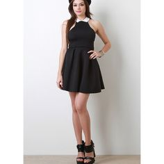 """""""Black Tie Event"""" Flare Collared Dress Super cute and edgy flare dress with a white collar. Available in black and grey. This is listing is for the BLACK. Brand new without tags. NO TRADES. True to size. Bare Anthology Dresses"""
