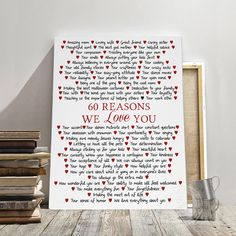 Excited to share the latest addition to my #etsy shop: Custom Birthday Gift canvas, 60th Birthday gift, 60 Years Birthday, Personalized Birthday canvas, Birthday gift, 60 Reasons we love you