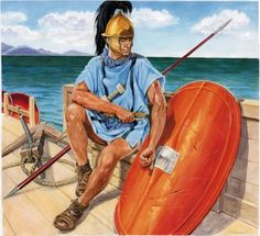 """A Roman Marine of the First Century BCE. The Romans in particular, being initially inexperienced at sea combat, relied upon boarding actions to carry the day. Here a marine attends to a wound after a successful action. """"Soldado de la flota romana"""" ( Marek Szyszko )"""