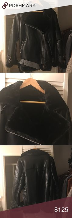 "Faux fur leather moto shearling jacket size L Brand new never worn brand says acne studios but I don't think it is real acne studios and the leather is faux leather not real leather size L will fit US size 6-8 or even size 10 cause this is oversized jacket ! Total length 72cm, chest width 113cm , sleeve length 61cm , shoulder to shoulder 17.5""-18"" Acne Jackets & Coats"