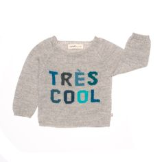 From Oeuf NYC this luxuriously soft, light grey sweater with multi-coloured text is undeniably cool. New Kids Toys, Designer Baby Clothes, Cool Sweaters, Grey Sweater, Kids Wear, Nice Dresses, Knitwear, Kids Fashion, Graphic Sweatshirt